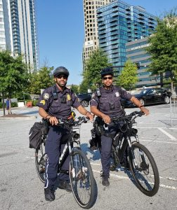 Police officers on bicycles